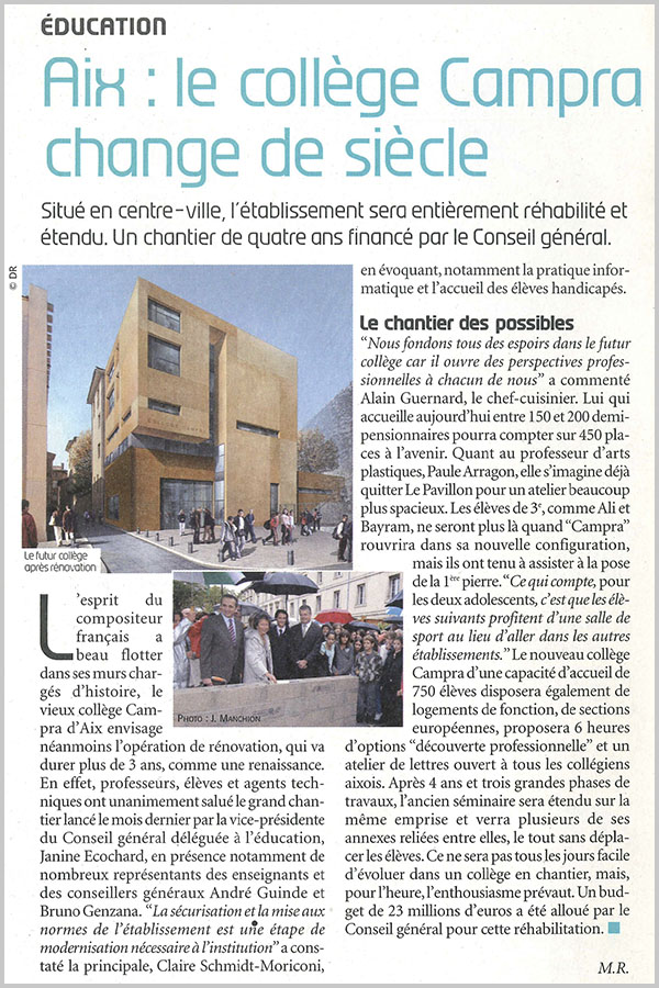 Leteissier Corriol - Agence d'architecture - Accents Bouches-du-Rhône n°187 Novembre 2008