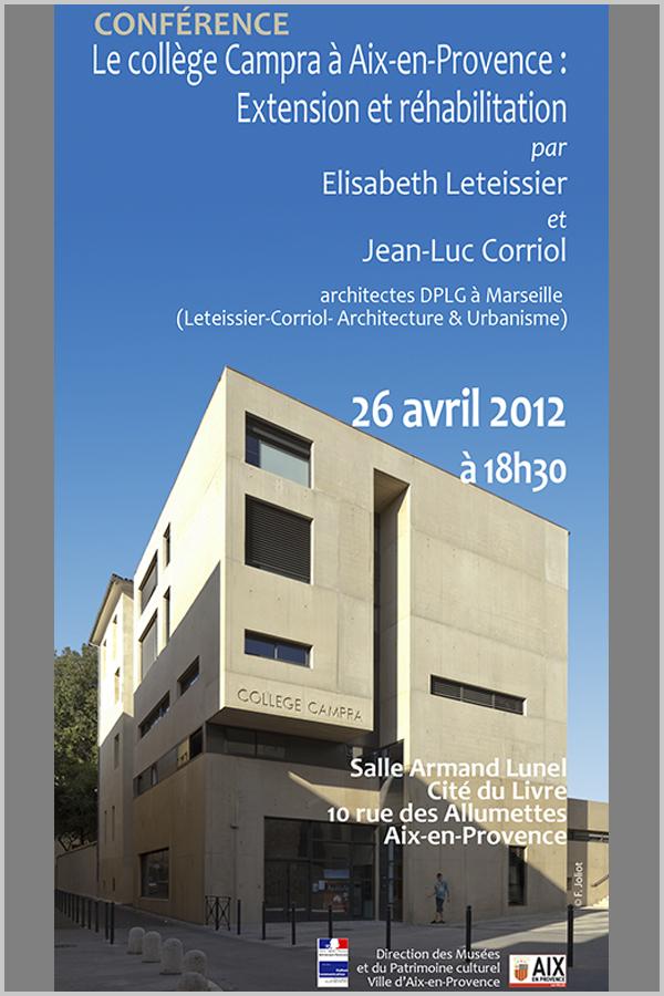Leteissier Corriol - Agence d'architecture - Cycle de conférences 2012 «Sensibilisation au patrimoine contemporain»