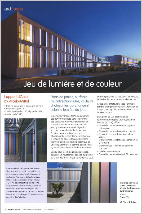 Leteissier Corriol - Agence d'architecture - «Métalmorphoses» Arval n°12 Novembre 2013