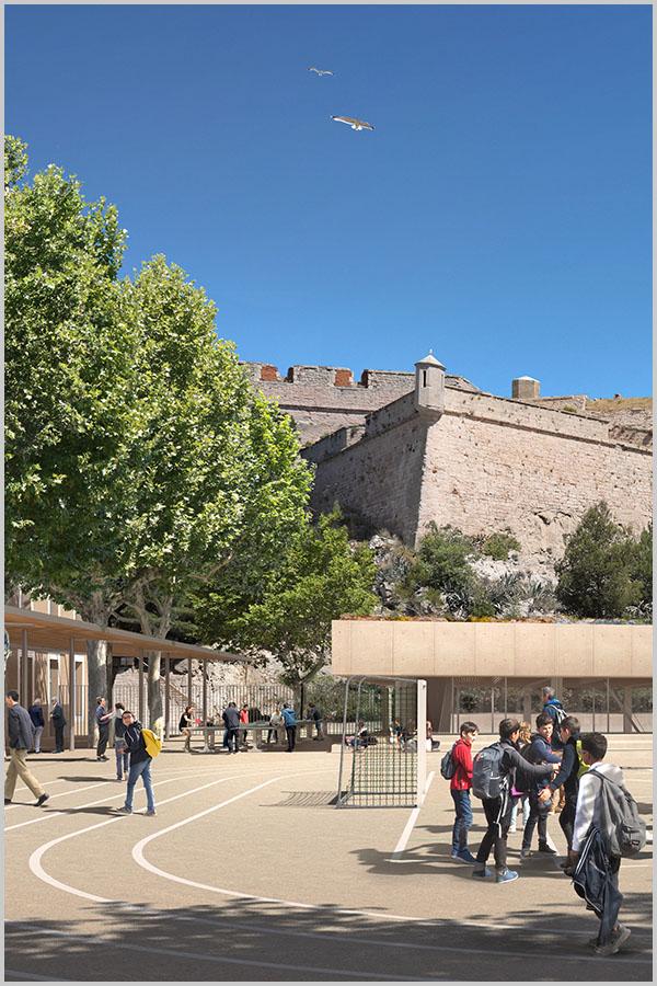Leteissier Corriol - Agence d'architecture - Collège Gaston Defferre implanté sur le site de la caserne d'Aurelle