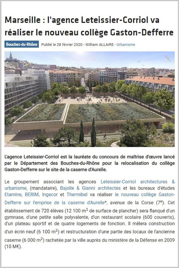 Leteissier Corriol - Agence d'architecture - TPBM Février 2020